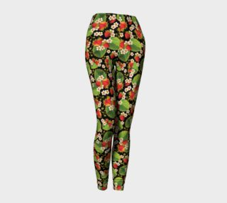 Strawberries on Black Ankle Leggings preview