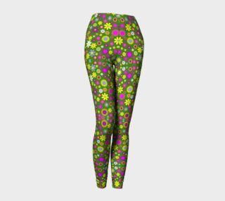 Green Floral Pattern Leggings aperçu