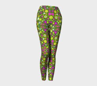 Aperçu de Green Floral Pattern Leggings