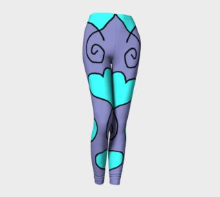 Light Blue Hearts on medium Purple Grey leggings sue 8 preview