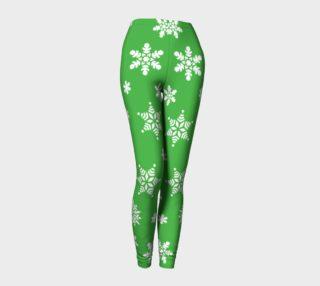 Snow Flurries Leggings-Christmassy Green preview