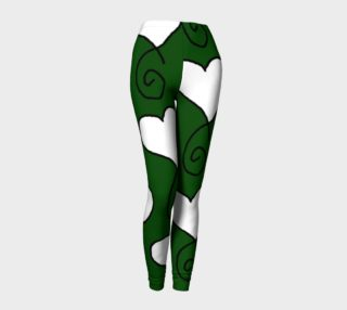 Hunter Green with White Hearts Leggings preview
