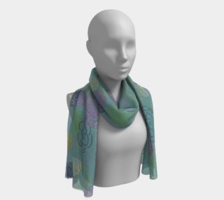 Aqua Flower Blooms Long Scarf preview