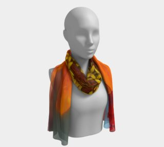 Orange and Yellow Zinnia Flower Long Scarf preview