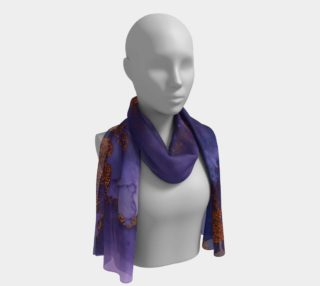 Watercolor Swirls B - Blue & Gold, Long Scarf preview