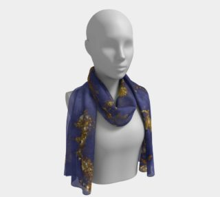 Watercolor Swirls C  - Blue & Gold, Long Scarf preview