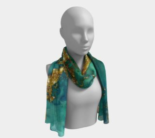Watercolor Swirls D - Turquoise & Gold, Long Scarf preview