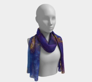 Watercolor Swirls E - Blue & Gold, Long Scarf preview
