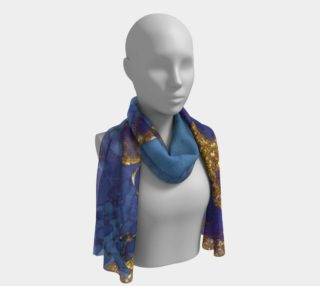 Watercolor Swirls F - Blue & Gold, Long Scarf preview