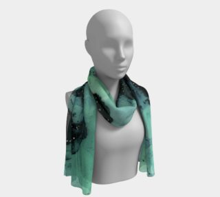 Watercolor Swirls G - Turquoise & Black, Long Scarf preview