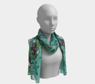 Long green tower butterflies scarf preview