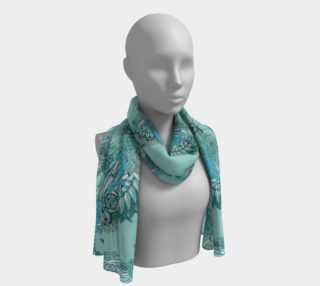Green flamingo butterflies long scarf preview