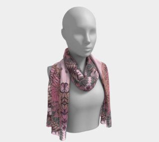 Long pink butterfly silk scarf preview