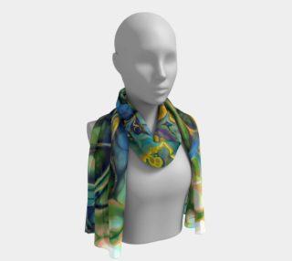 Aperçu de Flower Power FRACTAL BATIK Teal Yellow long scarf