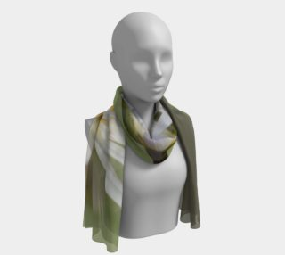 White Waterlilies, Green, Yellow Long Scarf/Shawl preview