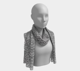 Black and white swirls doodles Long Scarf preview
