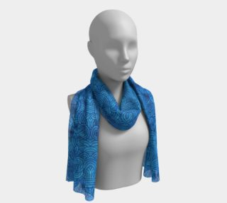 Turquoise blue swirls doodles Long Scarf preview