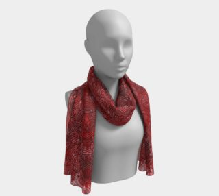 Red and black swirls doodles Long Scarf preview