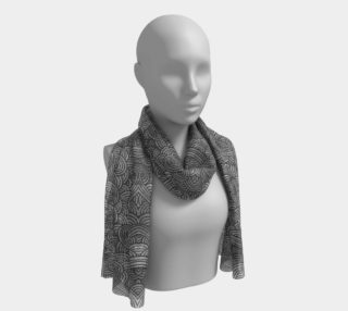 Grey and black swirls doodles Long Scarf preview