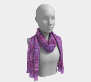 Neon purple and pink swirls doodles Long Scarf preview
