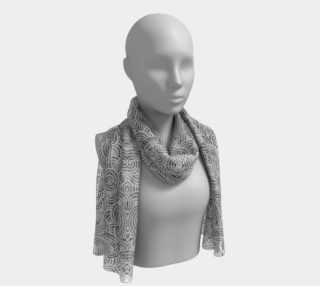 Grey and white swirls doodles Long Scarf preview