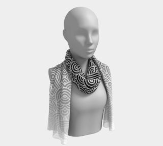 Ombre black and white swirls doodles Long Scarf preview