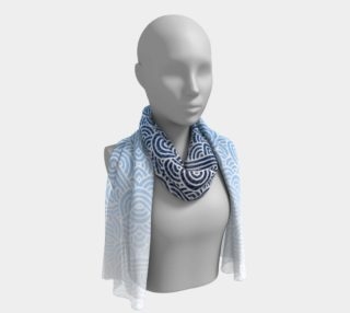 Ombre blue and white swirls doodles Long Scarf preview