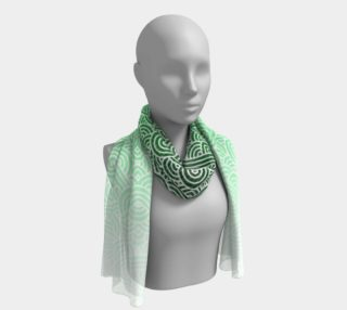 Ombre green and white swirls doodles Long Scarf preview
