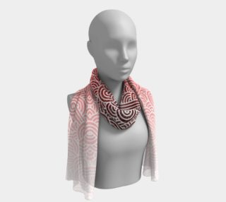 Ombre red and white swirls doodles Long Scarf preview