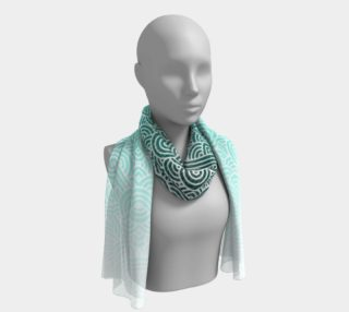 Ombre turquoise blue and white swirls doodles Long Scarf preview