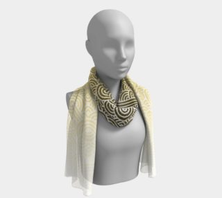 Ombre yellow and white swirls doodles Long Scarf preview