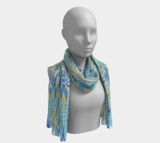 Blue and Yellow Abstract Oriental Design Scarf preview