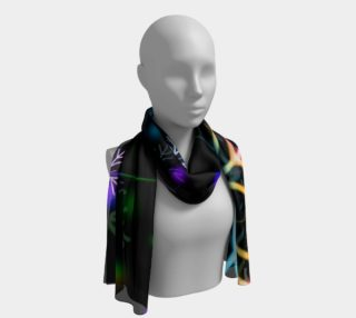 Rainbow Snowflakes on Black Long Scarf preview