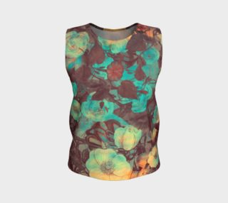 flowers green loose tank top preview