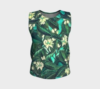 flowers  green white loose tank top preview