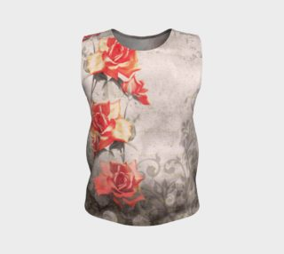 Vintage Red Grey Rose Grunge Floral Loose Tank Top preview