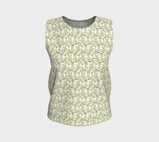 Green Cream Leafy Lace Floral Loose Tank Top preview