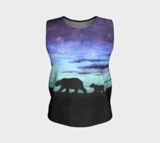 Aurora borealis and polar bears (black version) Loose Tank Top aperçu