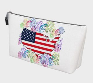 Proud USA Flag Map with Fireworks Makeup Bag preview