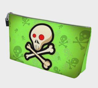 Cartoon Skull On Green Makeup Bag preview