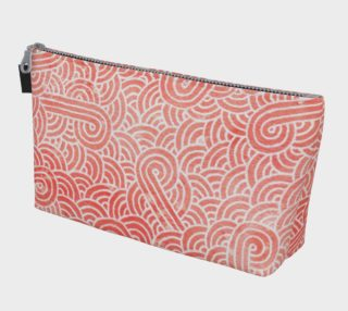 Peach echo and white swirls doodles Makeup Bag aperçu