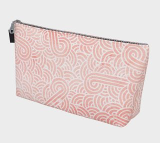Rose quartz and white swirls doodles Makeup Bag aperçu