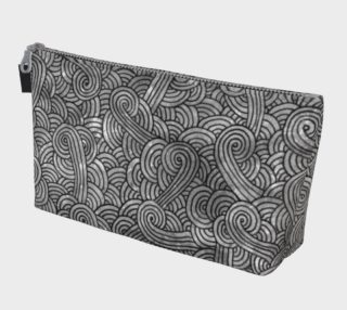 Grey and black swirls doodles Makeup Bag preview