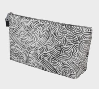 Grey and white swirls doodles Makeup Bag preview