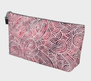 Red and white swirls doodles Makeup Bag preview