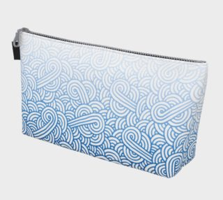 Gradient blue and white swirls doodles Makeup Bag preview