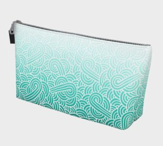 Ombré teal blue and white swirls doodles Makeup Bag aperçu