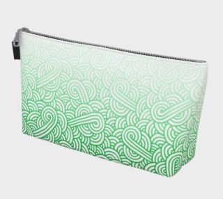 Gradient green and white swirls doodles Makeup Bag aperçu