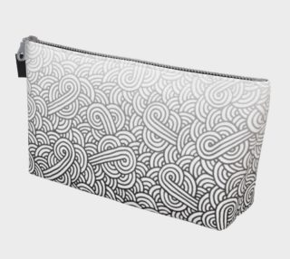 Gradient black and white swirls doodles Makeup Bag preview
