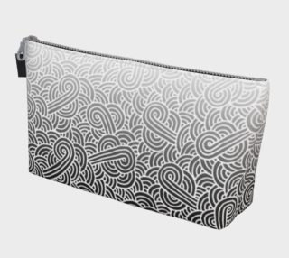 Ombré black and white swirls doodles Makeup Bag preview